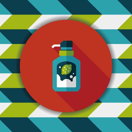 dishwashing liquid: kitchenware dish soap flat icon with long shadow,eps10 Illustration