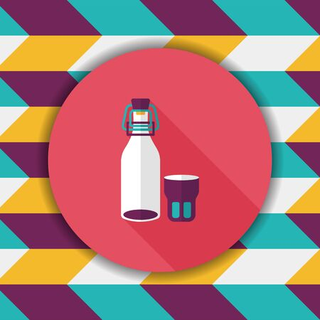 long drink: kitchenware preserving drink flat icon with long shadow,eps10