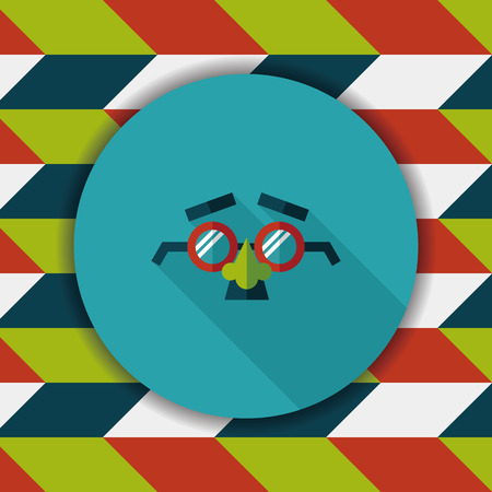 fake nose and glasses: party Mask flat icon with long shadow,eps10