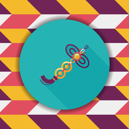 chinese knot: Chinese New Year flat icon with long shadow,eps10, lucky Chinese knot pendant means  wish good luck and fortune comes.