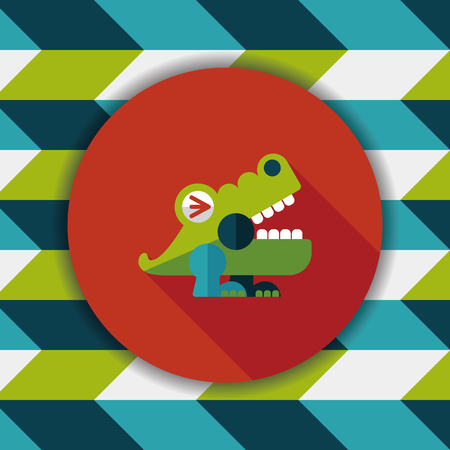 crocodile toy flat icon with long shadow,eps10 Illustration