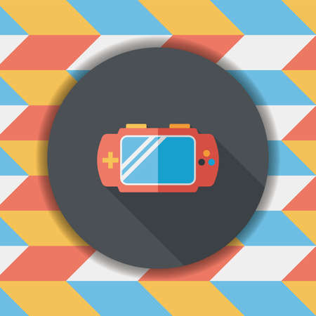 handheld device: Handheld game consoles flat icon with long shadow,eps10