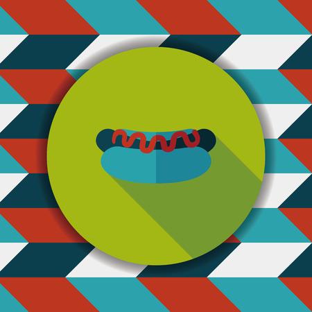 hot dog: hot dog flat icon with long shadow,eps10 Illustration