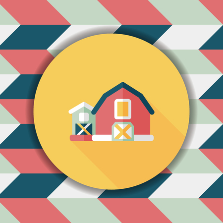 farmhouse: barn flat icon with long shadow,eps10