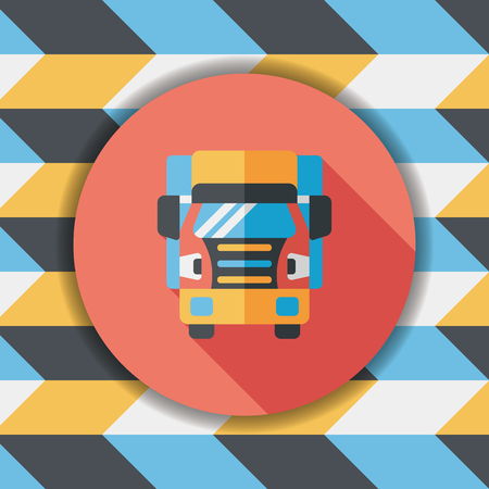 car carrier: Transportation truck flat icon with long shadow,eps10 Illustration
