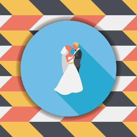 wedding couple: wedding couple flat icon with long shadow,eps10