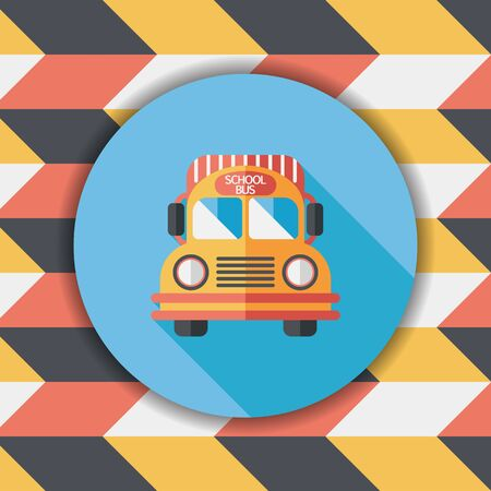 schoolbus: School Bus flat icon with long shadow,eps10