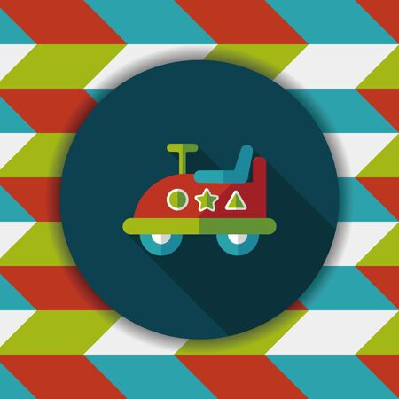 childish: toy car flat icon with long shadow Illustration