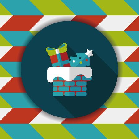 flat roof: Christmas roof flat icon with long shadow,eps10