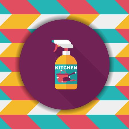 lavar platos: icono plana de cocina botella de jab�n con una larga sombra, eps10