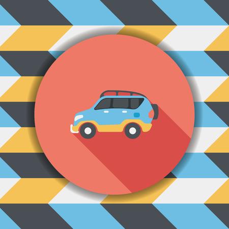 utility vehicle: Transportation Sports Utility Vehicle flat icon with long shadow,eps10 Illustration