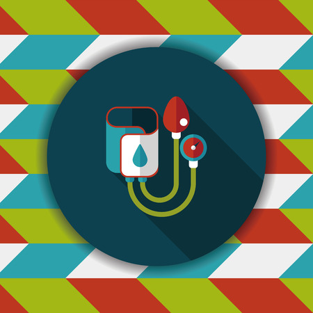 outpatient: Sphygmomanometer flat icon with long shadow