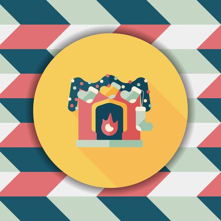christmas fireplace: Christmas fireplace decoration flat icon with long shadow eps10