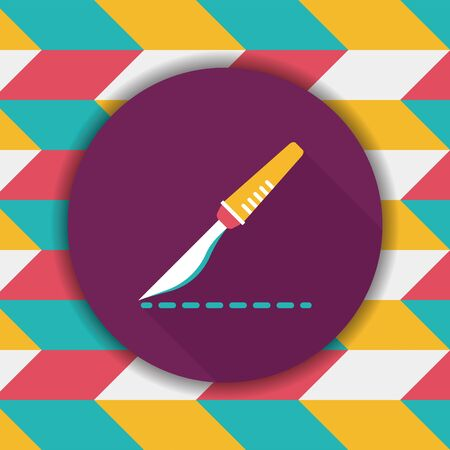 sliver: Scalpel cut flat icon with long shadow Illustration