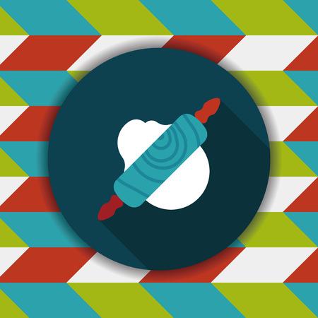 Icona Piatto Da Cucina Mattarello Con Una Lunga Ombra, Eps10 ...
