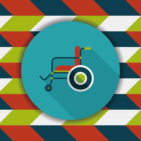 physical impairment: Wheelchair flat icon with long shadow