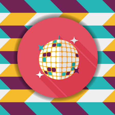 Disco ball flat icon with long shadow,eps10 Illustration