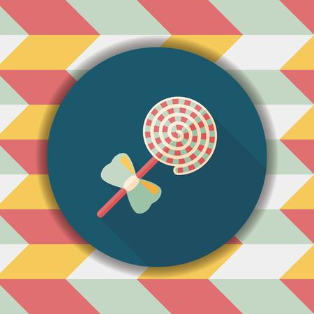 Lollipop flache Ikone mit langem Schatten, eps10