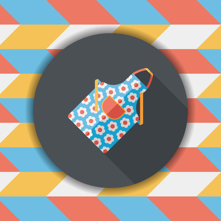 protective apron: kitchenware apron flat icon with long shadow,eps10
