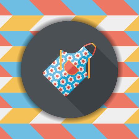 ustensiles de cuisine: ustensiles de cuisine tablier ic�ne plat avec ombre, eps10 Illustration