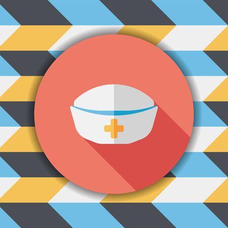 nursing clothes: nurse hat flat icon with long shadow,eps10 Illustration