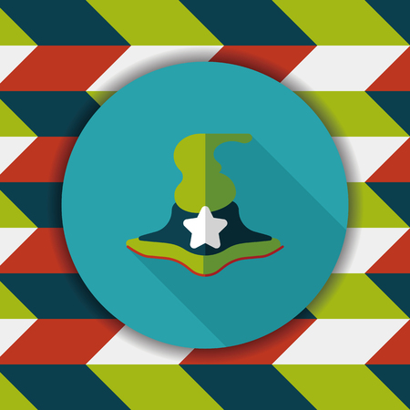 curse: witch hat flat icon with long shadow,eps10