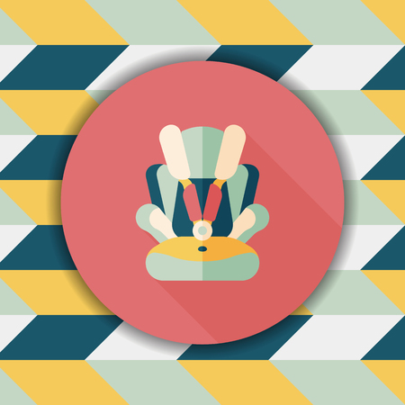 car seat: Baby car seat flat icon with long shadow,eps10