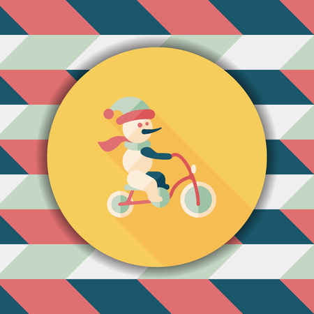 winter hat: snowman cycling flat icon with long shadow,eps10 Illustration