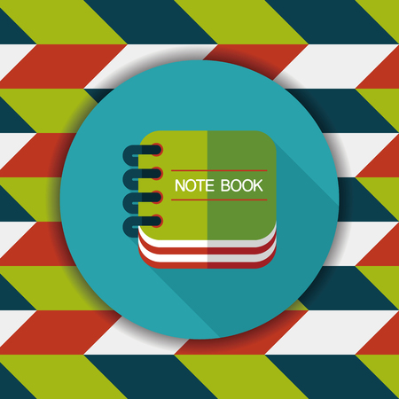 reading app: notebook flat icon with long shadow,eps10 Illustration