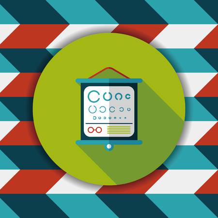 eye test: eye test chart flat icon with long shadow