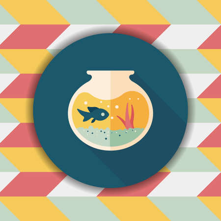 gold fish bowl: Pet fish bowl flat icon with long shadow,eps10 Illustration
