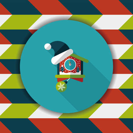 midnight time: Christmas clock flat icon with long shadow,eps10