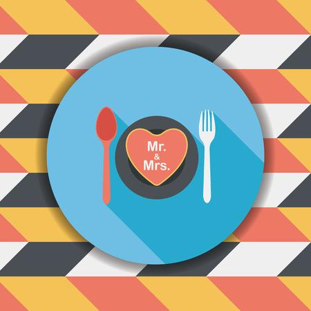 dinnerware: wedding dishware flat icon with long shadow,eps10