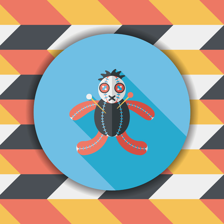 ugliness: Halloween voodoo doll flat icon with long shadow,eps10 Illustration
