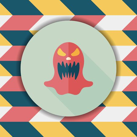 ghostly: halloween ghost flat icon with long shadow,eps10