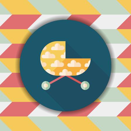 pram: Pram flat icon with long shadow,eps10 Illustration