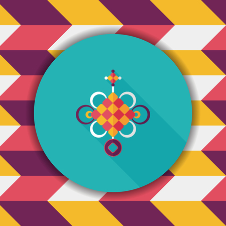 chinese knot: Chinese New Year flat icon with long shadow,eps10, lucky Chinese knot means  wish good luck and fortune comes. Illustration