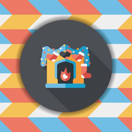 fireplace christmas: Christmas fireplace decoration flat icon with long shadow eps10