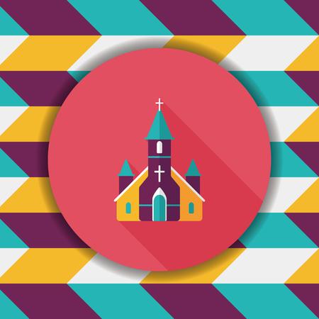 church service: wedding church flat icon with long shadow,