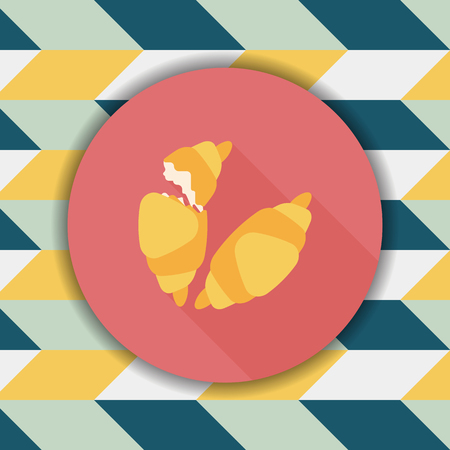croissants flat icon with long shadow,eps10 Illustration