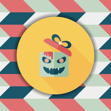 jack in the box: Halloween pumpkin shaped box flat icon with long shadow, eps10