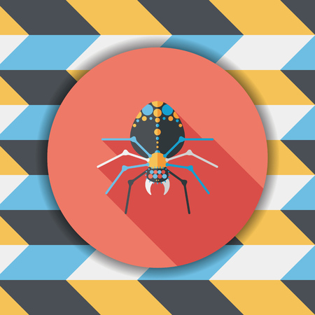 chitin: Halloween spider flat icon with long shadow,eps10 Illustration
