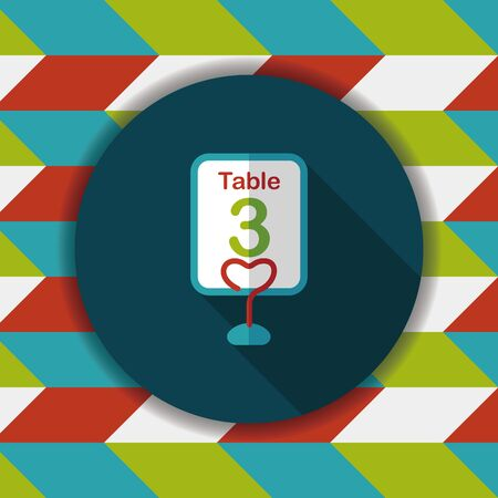 wedding table setting: wedding table sign flat icon with long shadow,eps10 Illustration
