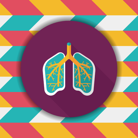 bronchi: Lungs flat icon with long shadow Illustration