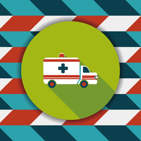 urgent care: ambulance car flat icon with long shadow