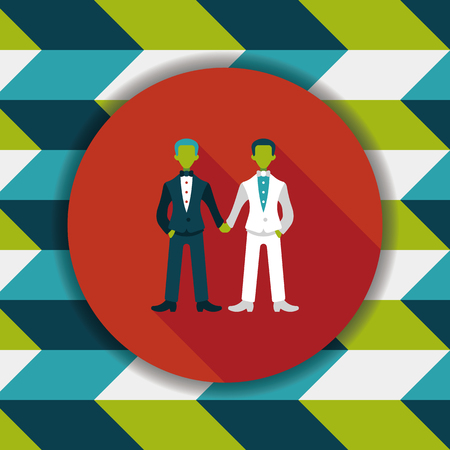 gay marriage: wedding couple flat icon with long shadow,eps10