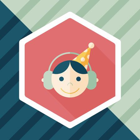 dj boy: Birthday party boy flat icon with long shadow