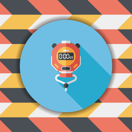 stopwatch flat icon with long shadow