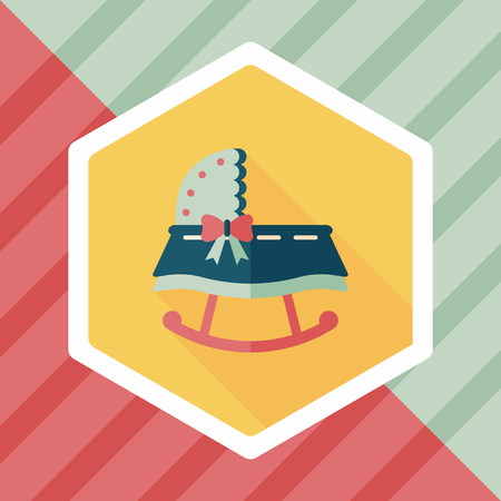 nanny: baby cradle bed flat icon with long shadow Illustration