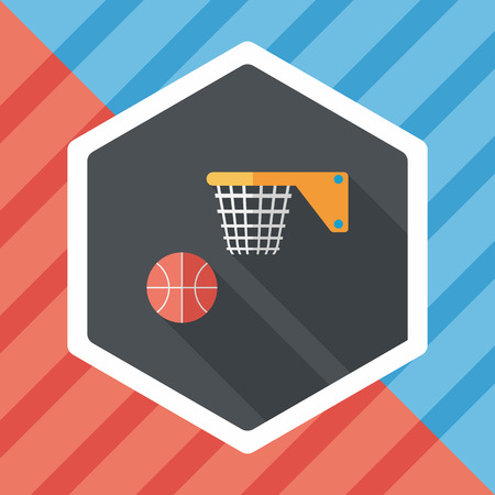 bal: Basketball flat icon with long shadow Illustration